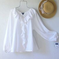 New~White Peasant Blouse Shirt Prairie Ruffle Cotton Lace Boho Top~Size Large L