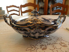 "Flow Blue Royal Staffordshire Wilkinson Iris  11 1/2"" Covered Tureen 11-2"