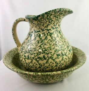 Robinson Ransbottom ROSEVILLE Ohio WaterPitcher&Bowl GreenSpongeware HEAVY!APR21