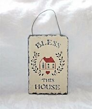 "Bless This House Sign, Slate Hanging Sign Handpainted Handcrafted 12"" x 8"""