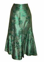 Per Una Long Emerald Green Skirt 12 Metallic 2 Tone Floral Flippy Fishtail M&S