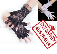 Costume Fancy Dress Party Punk Goth 20's 80's Lace Gloves Half Finger Black