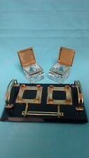 ART DECO ART & CRAFT ONIX AND BRASS DESK DOUBLE INKWELL