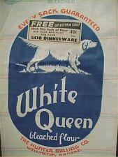 Vintage White Queen Flour Sack Wellington Kansas Logo Dog Hunter Mill Feedsack