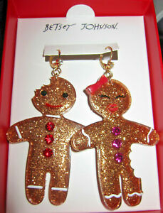 BETSEY JOHNSON BOY AND GIRL GINGERBREAD CHRISTMAS EARRINGS