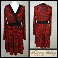 Happy Holly Red Black Floral Print Front Cross Over Dress Size 40/42 UK 10 -12