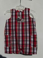 Carter's Infant One Piece Sunsuit Romper Red White & Blue Plaid Bull Dog 6M NWT