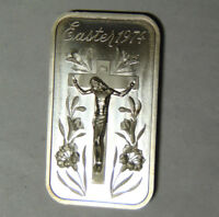 Easter 1974 Jesus Christ on Cross High Relief 1 oz .999 Fine Silver Bar (82618)