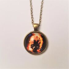 Marvel's GHOST RIDER Flaming Skull Glass Domed Bronze Chained Necklace/Pendant