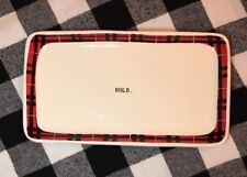 """Rae Dunn Artisan Collection by Magenta Red Black Plaid """"Tray"""" Small Platter RARE"""