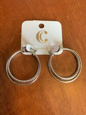 "Nwt Charming Charlie Hypo Allergenic Classic Silver 1.5"" Double Hoop Earrings"