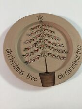 "Donna White 9.75"" Signed Wooden Plate ""Oh Christmas Tree"" Hand Painted"