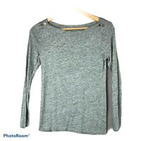 J Crew Women's Boatneck Painter Tee Top Long Sleeve Gray Size Small