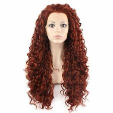 Long Curly Burgundy Red Heat Resistant Fiber Synthetic Lace Front Wig