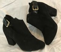 River Island Black Ankle Suede Lovely Boots Size 7 (787vv)