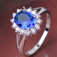 Popular 18k white gold filled Classic sapphire Eternity  Ring Sz6/M-Sz9/R