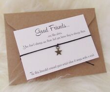 Good Friends Are Like Stars Bronze Charm Wish Friendship Bracelet Gift