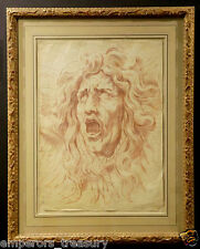19th Century Charcoal on Paper of Classical Mans Head in Agony