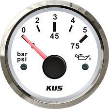 Universal KUS Boat Oil Pressure Gauge Marine Engine Oil Press Meter 5Bar 75PSI