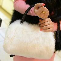 Women Lady Handbag Shoulder Faux Fur Clutch Tote Bag Purse Wallet WC