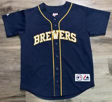 Vtg Milwaukee Brewers MLB Baseball #30 Craig Counsell Jersey Youth Sz Large Blue