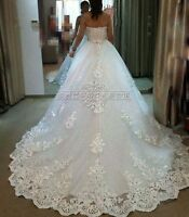Princess White/Ivory Lace A-Line Wedding Dress Cathedral Bridal Gown Custom Size