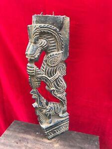 Antique Chariot Yalli Temple Art Dragon Corbel Bracket Wooden Vintage Statue B96