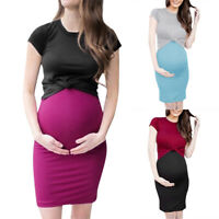 Women 2PCS Pregnant Maternity Strappy Dress+Short Sleeve Tops Tee T-shirt Blouse