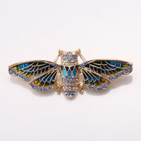 Broche Doré Cigale Insect Email Bleu Jaune Fin Simple Original XZ2