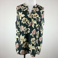 Philosophy womens tunic blouse size L floral sleeveless pop over hi lo
