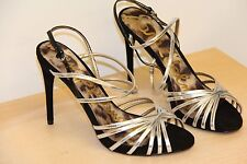 NIB Sam Edelman HARLETTE Leather Sandals High Heels Sz 8.5 M Black Silver