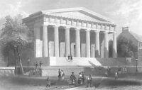 SECOND BANK OF UNITED STATES PHILADELPHIA Hamilton ~  1838 Art Print Engraving