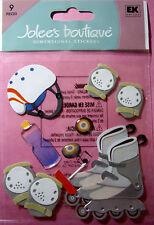 NEW 9 pc ROLLER BLADING Roller Blades Helmet Knee Elbow Pads JOLEE'S 3D Stickers