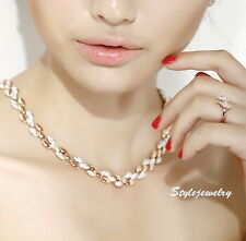 Luxury Silver & Gold Filled Crystal Wheat Design Bridal Necklace N45