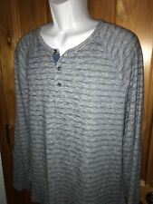 Lucky Brand Men's Henley Blue Gray Heathered Stripes Large Very Soft EUC