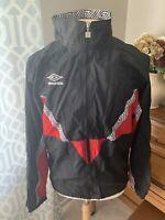 Vintage 90s UMBRO Windbreaker Jacket, Nylon, Full Zip, Large, Pockets, New!