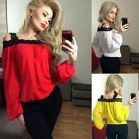 Women Ladies Cold Shoulder Long Sleeve Shirt Chiffon Blouse Loose Tops Shirt XL