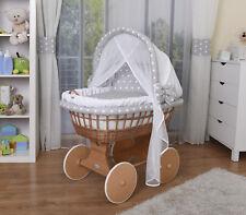 WALDIN Baby Bollerwagen,Stubenwagen,komplett mit Zubehör,Stoffe Weiß/Sterne-Weiß