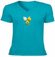 Unisex Tee Vneck T-Shirt Mens Women Gift Print Shirts Koopa Turtle Super Mario