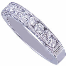 Platinum Round Cut Diamond Three Sided Band Deco Antique channel Bridal 0.75ctw