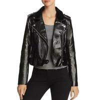 Blank NYC Womens Black Faux Leather Motorcycle Jacket Outerwear XS BHFO 5882