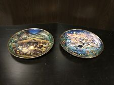 Lot Of 2 Bill Bell Collectors Plates In The Beginning & Away In A Manger