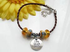 Brown & Amber Leatherette Charm Bead Bracelet - Handmade - BN