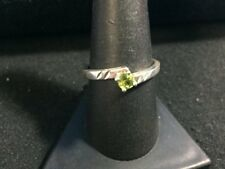 Etched Sterling Silver & Green Peridot Ring - Size 8.75