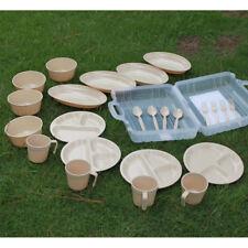 24pcs Travel Picnic Camping Tableware Set - Mugs Bowls Spoons Forks Plates