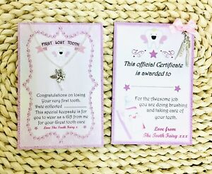 First Lost Tooth pendant and Tooth Fairy Pink award certificate set