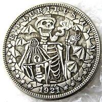 HOBO Nickel Style Coin 1921 Morgan 24.7 Grams Dollar Size Lady Zilla Very Nice