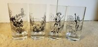 Vintage Drinking Glasses MA History Knox Minuteman, Tea Party, Charlemont Indian