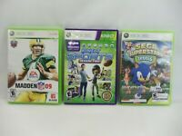 xbox 360 game lot of 3 Madden 09 Kinect Sports Sega Superstars Tennis - tested