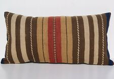 "Turkish 24""x12"" Brown Kilim Pillow Cover Wool Rectangle Steep Striped Area Rugs"
